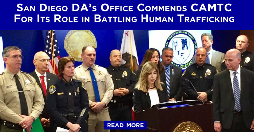 San Diego DA's Office Commends CAMTC For Its Role in Battling Human Trafficking